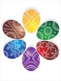 Seis huevos de Pascua en círculo Fotos de archivo libres de regalías