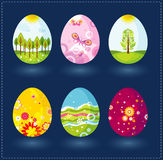 Seis huevos de Pascua, vector stock de ilustración