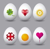 Seis huevos de Pascua, vector Foto de archivo