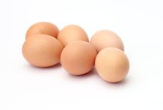 Seis huevos frescos Imágenes de archivo libres de regalías