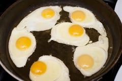Seis huevos fritos en una cacerola con aceite, para el desayuno Foto de archivo libre de regalías