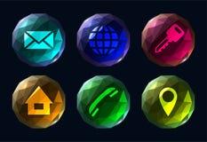 Seis iconos coloridos poligonales del ui de los botones stock de ilustración