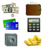 Seis iconos de dinero Imagen de archivo
