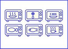 Seis iconos de las microondas Imagen de archivo libre de regalías