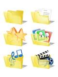 Seis iconos del Internet de los datos de la carpeta Fotografía de archivo libre de regalías