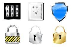 Seis iconos en el estilo brillante del metal - concepto de la seguridad Imagen de archivo