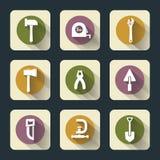 Seis iconos planos de las herramientas de funcionamiento Imagen de archivo libre de regalías