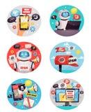 Seis iconos redondos del Bot del Spam stock de ilustración