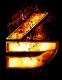 Seis, ilustração do número com efeitos do cromo e fogo vermelho sobre Imagens de Stock Royalty Free