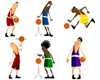 Seis jogadores de basquetebol Foto de Stock Royalty Free