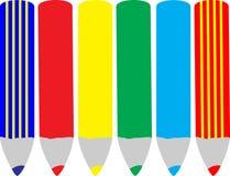 Seis lápices ilustración del vector