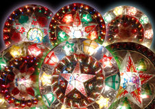 Seis lanternas do Natal fotos de stock