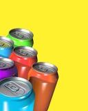 Seis latas coloridas de la bebida Imagen de archivo libre de regalías