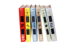 Seis livros no branco imagem de stock royalty free