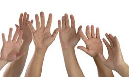 Seis mãos levantadas Fotos de Stock Royalty Free