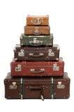 Seis maletas viejas Imágenes de archivo libres de regalías