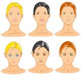 Seis manequins genéricos das caras fêmeas Fotografia de Stock Royalty Free