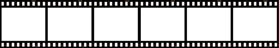 Seis marcos de película en blanco fotos de archivo libres de regalías