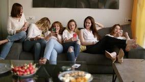 Seis meninas bonitas que relaxam no sofá As meninas estão olhando em seu telefone celular Tenha um conceito do partido de galinha video estoque