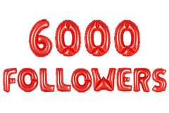 Seis mil seguidores, cor vermelha foto de stock royalty free