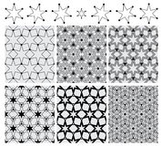 Seis modelos inconsútiles negros determinados de la simetría del círculo de la estrella Fotos de archivo