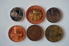 Seis moedas de República Checa Foto de Stock