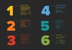Seis moldes do progresso das etapas com tipografia agradável Foto de Stock Royalty Free
