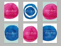 Seis moldes dos cartões do vetor com círculos pintados à mão da escova Fotos de Stock Royalty Free