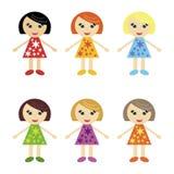 Seis muchachas agradables en blanco Imagen de archivo libre de regalías
