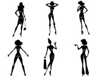 Seis muchachas modernas ilustración del vector