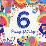 Seis números de cartão da festa de anos de 6 anos Foto de Stock Royalty Free