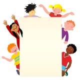 Seis niños multiculturales libre illustration