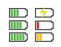 Seis niveles de icono de la carga de batería incluyendo la carga por completo vacía fotos de archivo libres de regalías