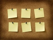 Seis notas amarelas Foto de Stock Royalty Free