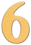 6, seis, numeral da madeira combinaram com a inserção amarela, isolada sobre Imagem de Stock