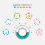 Seis opções de infographic em torno do círculo grande, vetor do conceito do negócio Fotos de Stock