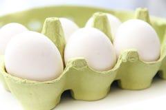Seis ovos brancos da galinha em um pacote verde aberto Fotografia de Stock Royalty Free
