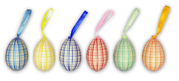 Seis ovos da páscoa na linha Fotografia de Stock Royalty Free