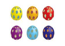 Seis ovos de easter, isolados Imagens de Stock