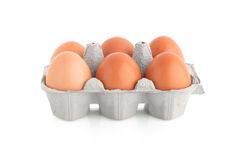 Seis ovos na caixa da caixa Fotografia de Stock