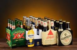 Seis paquetes de cerveza importada Foto de archivo libre de regalías