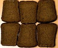 Seis pedazos de pan negro Imágenes de archivo libres de regalías
