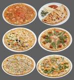 Seis pizzas Fotos de archivo libres de regalías