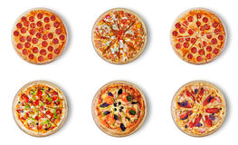 Seis pizzas diferentes ajustadas para o menu Fotos de Stock