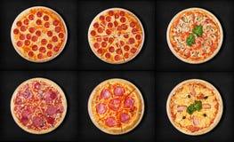 Seis pizzas diferentes ajustadas para o menu: 1pepperoni 2pepperoni cortou 3pizza com pizza 5salami do marisco 4Classic 6Pizza Ha Imagens de Stock Royalty Free