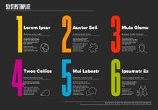 Seis plantillas del progreso de los pasos con tipografía agradable stock de ilustración