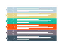 Seis plantillas infographic colorida de la presentación del rompecabezas del pedazo Fotografía de archivo