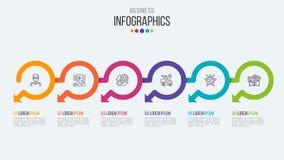 Seis plantillas infographic de la cronología de los pasos con las flechas circulares Fotos de archivo