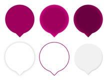 Seis ponteiros roxos do mapa Imagem de Stock