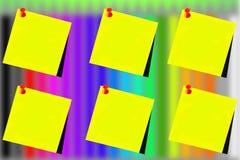 Seis post-it amarillos con un fondo de lápices Imagen de archivo